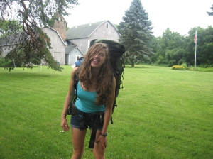 Gritty Gal and her backpack outside her home in Lodi, Wisconsin